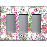 Triple Rocker Decora Light Switch Cover i nHot Pink & Green Retro Floral Print