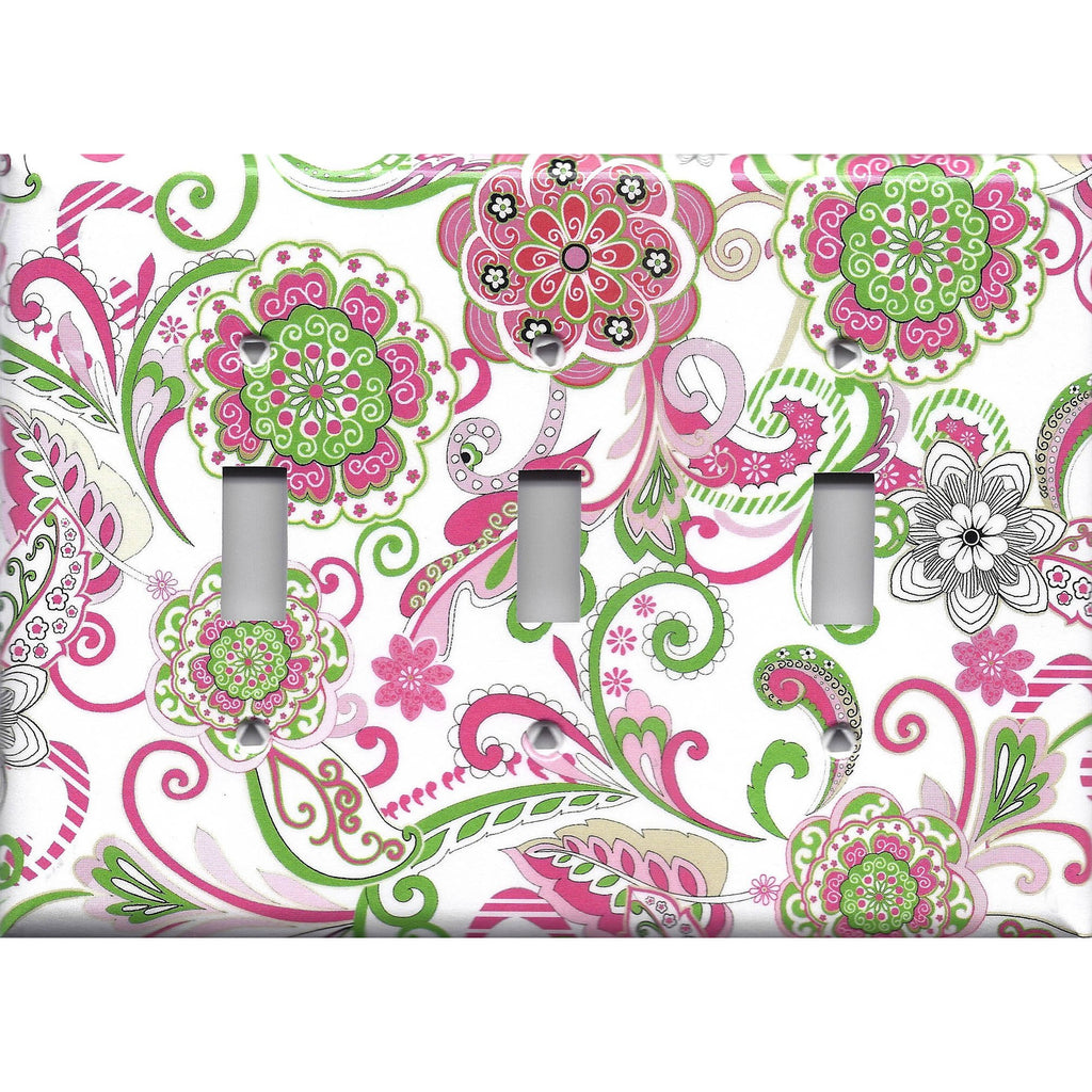 Triple Toggle Light Switch Cover in Hot Pink & Green Retro Floral Print