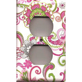 Wall Outlet Plate Cover in Hot Pink & Green Retro Floral Print