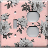 Combo Toggle Light Switch and Outlet Cover in Pink and Gray Vintage Floral Shabby Chic Decor