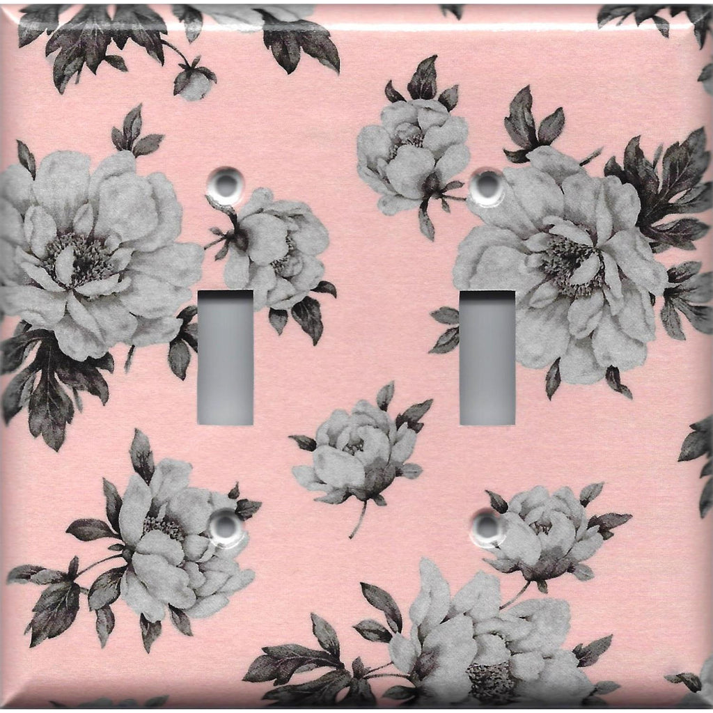 Double Toggle Light Switch Cover in Pink and Gray Vintage Floral Shabby Chic Decor