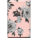 Single Toggle Light Switch Plate Cover in Pink and Gray Vintage Floral Shabby Chic Decor