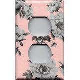 Wall Outlet Plate Cover in Pink and Gray Vintage Floral Shabby Chic Decor