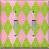 Double Light Switch Plate Cover in Lime Green & Pink Argyle Diamonds Handmade- Simply Chic Gal
