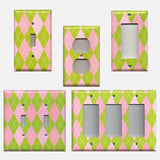 Lime Green & Pink Argyle Diamonds Handmade Light Switch Covers & Outlet Covers- Simply Chic Gal