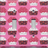 Double Light Switch Plate Cover in Pink and Red Cupcakes Kitchen Decor Handmade- Simply Chic Gal