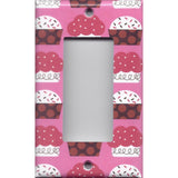 Single Rocker Decora GFI Outlet Cover in Pink and Red Cupcakes Kitchen Decor- Simply Chic Gal