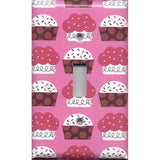 Single Light Switch Plate Cover in Pink and Red Cupcakes Kitchen Decor Handmade- Simply Chic Gal