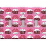 Triple Light Switch Plate Cover in Pink and Red Cupcakes Kitchen Decor Handmade- Simply Chic Gal