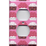 Wall Outlet Plug Cover in Pink and Red Cupcakes Kitchen Decor Handmade- Simply Chic Gal