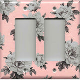 Double Rocker Decora Light Switch Cover in Pink and Gray Vintage Floral Shabby Chic Decor