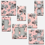 Light Pink and Grey Vintage Floral Light Switch Plates and Wall Outlet Covers