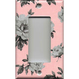 Single Rocker Decora GFI Outlet Cover in Pink and Gray Vintage Floral Shabby Chic Decor