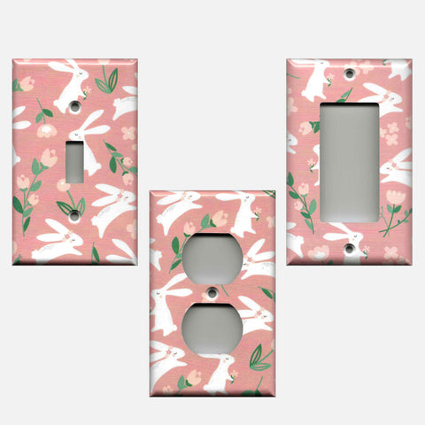 Baby Girl Woodland Nursery Decor White Rabbit Print with Pink Roses Light Switch Plates & Wall Outlet Covers