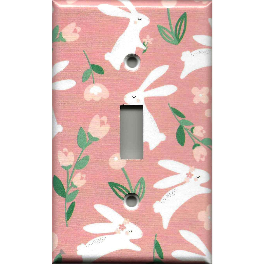 Single Toggle Light Switch Plate Cover in Baby Girl Woodland Nursery Decor White Rabbit Print with Pink Roses