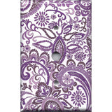 Cable Jack Cover in Purple Mosaic Paisley