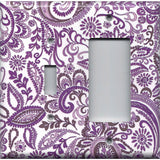 Combo Light Switch and Rocker GFI Cover in Purple Mosaic Paisley
