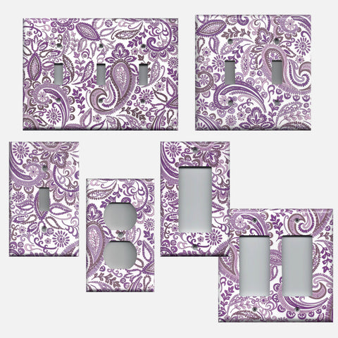 Purple Mosaic Paisley Light Switch Plates and Outlet Covers
