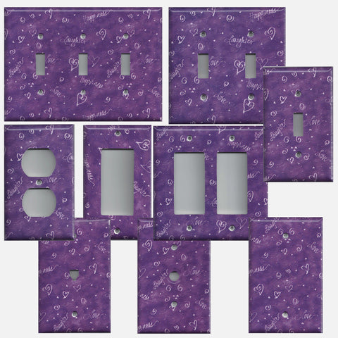 Violet Purple Hearts and Swirls Hand Made Light Switchplates & Outlet Covers