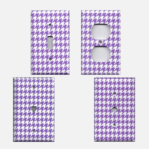 Bright Purple & White Houndstooth Hand Made Light Switch Plates & Outlet Covers