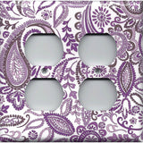 4 Plug Outlet Cover in Lavender Purple Mosaic Paisley Handmade- Simply Chic Gal