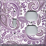 Combo Light Switch and Outlet Cover in Lavender Purple Mosaic Paisley Handmade- Simply Chic Gal