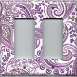 Double Rocker Decora Light Switch Cover in Lavender Purple Mosaic Paisley Handmade- Simply Chic Gal