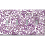 Quad Light Switch Plate Cover in Lavender Purple Mosaic Paisley Handmade- Simply Chic Gal