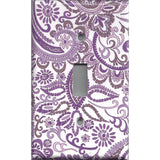 Single Light Switch Plate Cover in Lavender Purple Mosaic Paisley Handmade- Simply Chic Gal