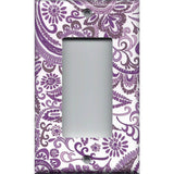 Single Rocker Decora GFI Outlet Cover in Lavender Purple Mosaic Paisley Handmade- Simply Chic Gal