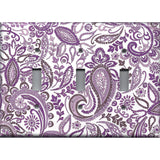Triple Light Switch Plate Cover in Lavender Purple Mosaic Paisley Handmade- Simply Chic Gal