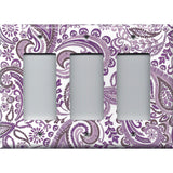 Triple Rocker Decora Light Switch Cover in Lavender Purple Mosaic Paisley Handmade- Simply Chic Gal
