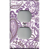 Wall Outlet Plug Cover in Lavender Purple Mosaic Paisley Handmade- Simply Chic Gal