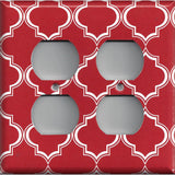 4 Plug Outlet Cover in Red Burgundy & White Quatrefoil Lattice Print