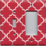 Combo Light Switch and Rocker Cover in Red Burgundy & White Quatrefoil Lattice Print