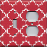 Combo Light Switch and Outlet Cover in Red Burgundy & White Quatrefoil Lattice Print