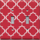 Double Toggle Light Switch Cover in Red Burgundy & White Quatrefoil Lattice Print