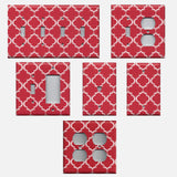 Red Burgundy & White Quatrefoil Lattice Light Switch & Outlet Covers
