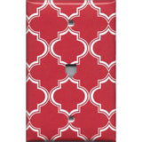 Phone Jack Cover in Red Burgundy & White Quatrefoil Lattice Print