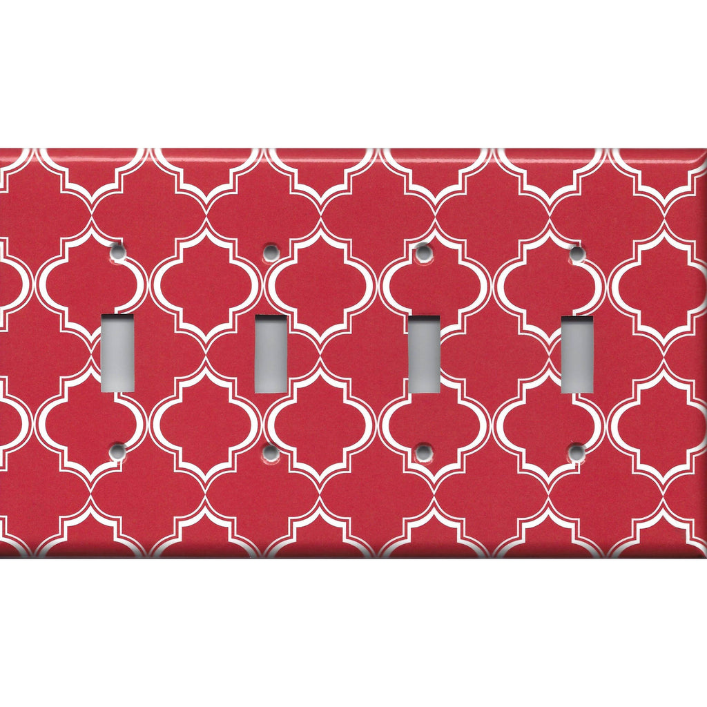 Quad Toggle Light Switch Cover in Red Burgundy & White Quatrefoil Lattice Print