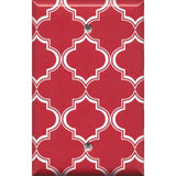 Single Blank Cover in Red Burgundy & White Quatrefoil Lattice Print