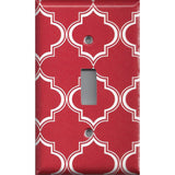 Single Toggle Light Switch Plate in Red Burgundy & White Quatrefoil Lattice Print