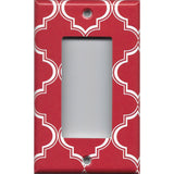 Single Rocker Decora GFI Outlet Cover in Red Burgundy & White Quatrefoil Lattice Print