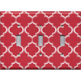 Triple Toggle Light Switch Plate in Red Burgundy & White Quatrefoil Lattice Print