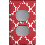 Wall Outlet Plate Cover in Red Burgundy & White Quatrefoil Lattice Print
