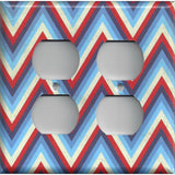 4 Plug Outlet Cover in Red Off White & Blue Chevron Stripes