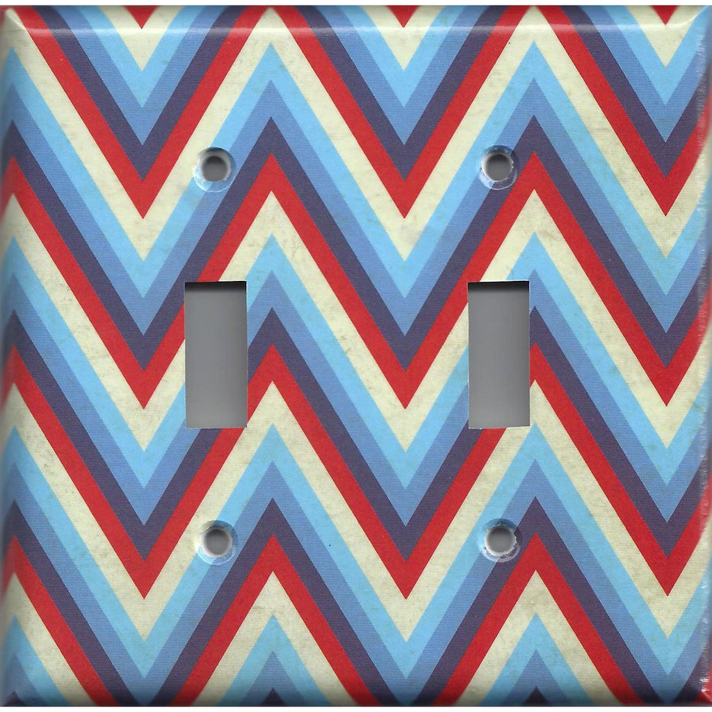 Double Toggle Light Switch Cover in Red Off White & Blue Chevron Stripes