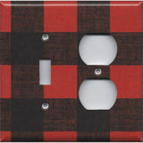 Combo Light Switch and Outlet Cover in Red & Black Check Plaid Log Cabin Decor