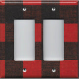 Double Rocker Decora Light Switch Cover in Red & Black Check Plaid Log Cabin Decor