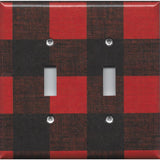 Double Toggle Light Switch Cover i nRed & Black Check Plaid Log Cabin Decor